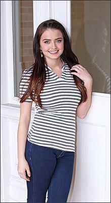 Striped V-Neck Top [MT4210] - $29.99 : Mikarose Fashion, Reinventing Modest Fashion