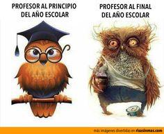 Profesor al principio y al final del año escolar.