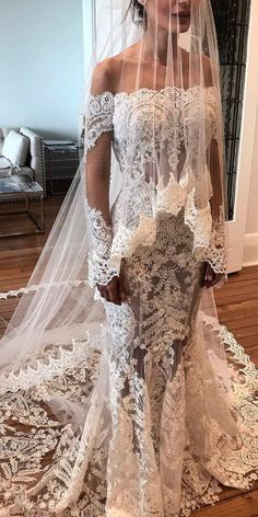 33 Romantic Off The Shoulder Wedding Dresses ❤ off the shoulder wedding dresses mermaid lace illusion long sleeves with train nektaria world ❤ See more: http://www.weddingforward.com/off-the-shoulder-wedding-dresses/ #weddingforward #wedding #bride