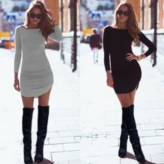 Fashion Women Ladies Long Sleeve Party Evening Bodycon Dress Mini Dress  $5.4