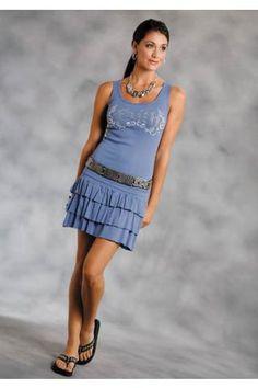 Women's Blue Roper 7226 2x1 Ruffled Rib Mini Skirt Five Star Pa Western Wear