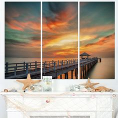 Colorful Sky and Long Wooden Pier - Sea Pier Wall Art Print