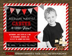 Pirate Birthday Invitation Printable FREE por SweetGumdrop
