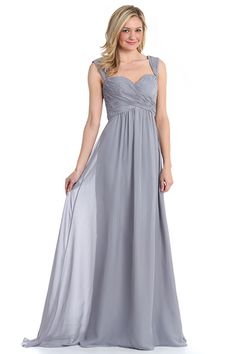 Sweetheart Pleated Long Bridal Gown With Straps