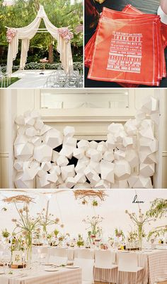 Wedding Decor:  Ceremony Tent: SMP  Thank you napkins: Wedding Chicks  3D white wedding backdrop: Ruffled  Airy reception with striped linens: Green Wedding Shoes
