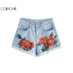 Barato COLROVIE Appliques Denim Shorts Women Blue Floral Embroidery Rolled Hem Casual Summer Shorts 2017 New Button Vintage Cute Shorts, Compro Qualidade Calções diretamente de fornecedores da China: COLROVIE Appliques Denim Shorts Women Blue Floral Embroidery Rolled Hem Casual Summer Shorts 2017 New Button Vintage Cute Shorts