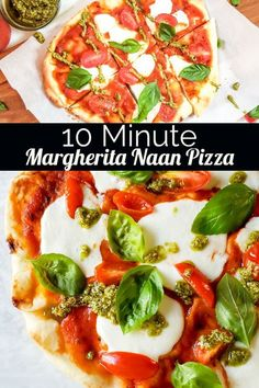 Margherita Naan Pizza with Pesto Drizzle This Easy Margherita Pizza Recipe is easy, fast and vegetarian! This recipe is perfect for families, mine loves having this for dinner! This recipe uses naan bread, mozzarella cheese and basil pesto! Deep Dish Pizza Crust Recipe, Naan Recipe, Pesto Recipe, Cold Vegetable Pizza, Vegetable Pizza Recipes, Vegetarian Recipes, Naan Pizza, Nan Bread Pizza, Flatbread Pizza Recipes