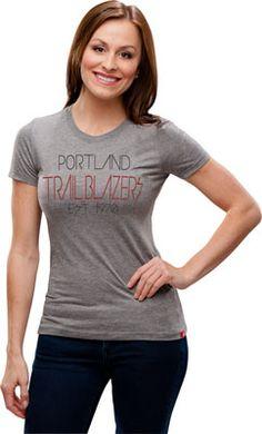 Portland Trail Blazers Women's Celebrity Comfy Tri-Blend Tee - Grey