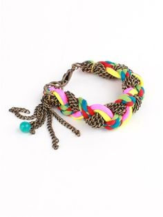 Neon and String Chain Bracelet