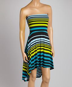 Take a look at the Blue & Green Stripe Strapless Dress on #zulily today!