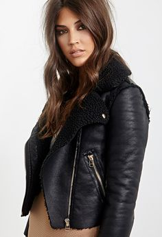 Faux Leather & Faux Shearling Moto Jacket | FOREVER21 - 2000120846