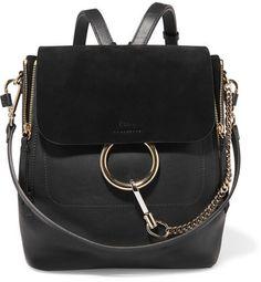 dec78e73e12f Chloé - Faye Medium Textured-leather And Suede Backpack - Black Chloe Faye  Backpack