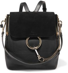 Chloé - Faye Medium Textured-leather And Suede Backpack - Black