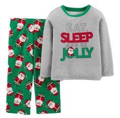 New Nwt Carter s Toddler Boy s Red Green Grey Santa Fleece Christmas Pajamas  2t  Carters   33c141219