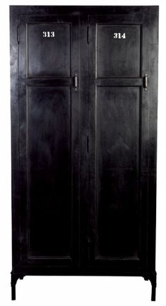 Black cabinet with stencil numbered doors