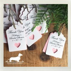 Wedding Gifts Personalized heart gift tags—a classic and simple way to thank your bridal shower guests. Shown here in white and light pink, but you can choose the paper colors to match your special day! Wedding Gift Tags, Wedding Favors, Bridal Shower Favors, Bridal Shower Invitations, Pink Wedding Theme, Wedding Themes, Wedding Dresses, Personalized Gift Tags, Personalized Wedding