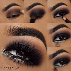 -apply motives eye base ~ELEMENT PALETTE 1. apply 'aubergine' on crease as transition shade 2. apply 'raven' on lid and blend it upwards with 'aubergine' 3. liner waterline with 'black' kohl 4. apply 'vogue' paint pot on lower lash line going in the tear duct 5. then apply 'diamond' glitter pot on tear duct.