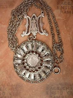 French Miraculous sacred heart medal Rhinestone NEcklace
