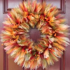 Make your own beautiful DIY Fall Tulle Wreaths, It's EASY! They look amazing ha. : Make your own beautiful DIY Fall Tulle Wreaths, It's EASY! They look amazing hanging on the front door during the fall season and especially during Thanksgiving Fall Tulle Wreath, Easy Fall Wreaths, Christmas Mesh Wreaths, Thanksgiving Wreaths, Thanksgiving Decorations, Winter Wreaths, Prim Christmas, Spring Wreaths, Summer Wreath