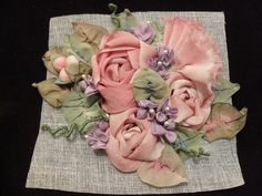 ribbon work flowers on crinoline by lambsandivydesigns.com, via Flickr