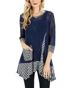 Love this Blue Stripe Crochet Sidetail Tunic by Aster on #zulily! #zulilyfinds