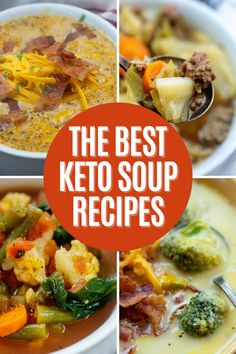A delicious collection of the best keto soup recipes. #lowcarbsoup #ketosouprecipes Spicy Cauliflower Soup, Paleo Chicken Soup, Keto Soup, Mexican Food Recipes, Beef Recipes, Lunch Recipes, Chicken Recipes, Pot Roast Soup Recipe, Beef Soup Bones