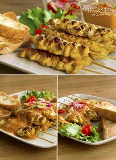 """Receta de Pollo Saté o """"Kai Satay"""" (ไก่สะเต๊ะ) es sin duda alguna uno de los aperitivos más conocidos y deliciosos de la cocina tailandesa. Thai Recipes, Quick Recipes, Asian Recipes, Chicken Recipes, Healthy Recipes, Pollo Satay, Best Thai Food, Gula, Fusion Food"""