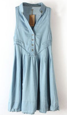 Blue V Neck Sleeveless Elastic Denim Dress