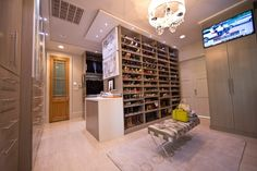 Contemporary Closet with Pendant light, High ceiling, Carpet, tv wall mount, TOV Stella Acrylic Bedroom Bench