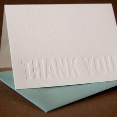 Letterpress Thank You Cards  Impression no ink Modern by RubyPress, $13.00