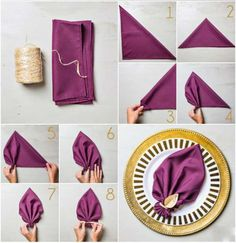 Napkin Folding - Seasonal Ideas For Table Decoration . Awesome How To Set A Table For Dinner Holiday Napkin . Cloth Dinner Napkins, Paper Napkins, Paper Napkin Folding, Simple Napkin Folding, Wedding Napkin Folding, Beverage Napkins, Cocktail Napkins, Purple Cocktails, Deco Table