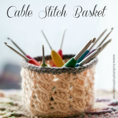 Crochet Cable Stitch Basket, great step-by-step tutorial by Look At What I Made