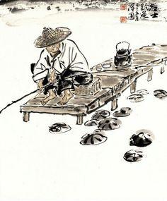"""Korean Artist """"damwon Kim-Chang bae大韓民國 潭園金昌培 畵家  """" Zen Art 명사조어(40×55cm)2010年作"""
