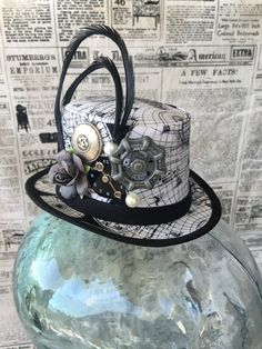 Available on etsy.com/shop/arcaniumdesign : Steampunk Mini Top Hat Fascinator - Map Print with Feathers & Embellishments