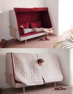 引きこもり屋根付きソファーベッドorwellが欲しいと話題に Smart Furniture, Unique Furniture, Home Furniture, Furniture Design, Bed Design, House Design, Hippie House, Dreams Beds, Cool Kitchen Gadgets