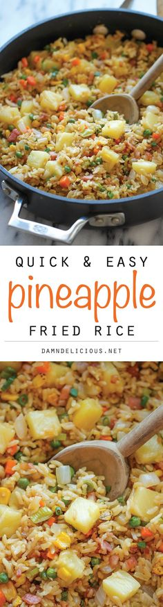 Rice Pineapple Fried Rice ~ A quick and easy weeknight meal that's so much cheaper, tastier and healthier than take-out!Pineapple Fried Rice ~ A quick and easy weeknight meal that's so much cheaper, tastier and healthier than take-out! Food Dishes, Main Dishes, Rice Dishes, Tasty Vegetarian, Asian Recipes, Healthy Recipes, Rice Recipes, Chicken Recipes, Pineapple Fried Rice