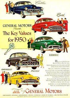 1950 General Motors many models car advertising by DustyDiggerLise Chevy, Chevrolet, General Motors Cars, Buick Cars, American Classic Cars, American Gas, Ad Car, 1950s Car, Car Posters