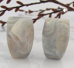 Clip, Trapez, grau-beige-marmor-matt  nickelfrei