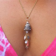 Hawaiian Shell Necklace, Sea Glass, Pink Coral, Gold Chain, Maui Hawaii Beach Jewelry, Summer Fashions. $60.00, via Etsy.