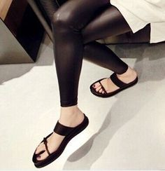 sandals thick crust muffin female black leather Roman sandals and slippers female fine with the influx of European and American