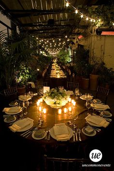 Beautiful candlelit rooftop dinner