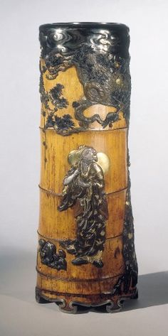 Vase  Japan  Meiji  circa 1880  Seki Eisuke and others  bamboo, iroe takazogan, gold, silver, shakudo, copper, yamagane, shinchu and shibuichi  height 54 cm