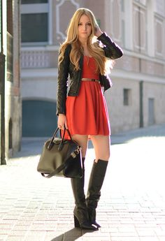 Dress, leather jacket and high boots