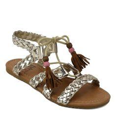 Gold Anessa Sandal #zulily #zulilyfinds