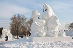 happy happy hippos- This sculpture is modeled after The Moomins which are famous characters from Finland.