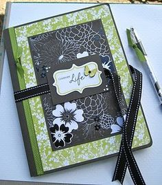 Altered Composition Book.  Link from blog to a tutorial.  Fun journal for gifts.