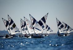 A general view of sailing training ahead of the London Olympics at the Weymouth and Portland venue in Weymouth, England.