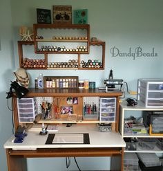 https://flic.kr/p/FkNwxq | DandyBeads Craft Room Organization Solution (Sandra Niese) | Hubby added some additional shelves to my thrift store paint holder and a riser for my desk. My workspace makes better sense now!! Let's see what I can make now, other than a mess!