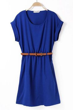 Loose Casual Short Sleeve Belt Dress in Navy Blue