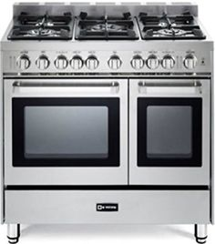 "Verona VEFSGG365NDSS 36"" Pro-Style Gas Range with 5 Sealed Burners 2 Turbo-Electric Convection Ovens"